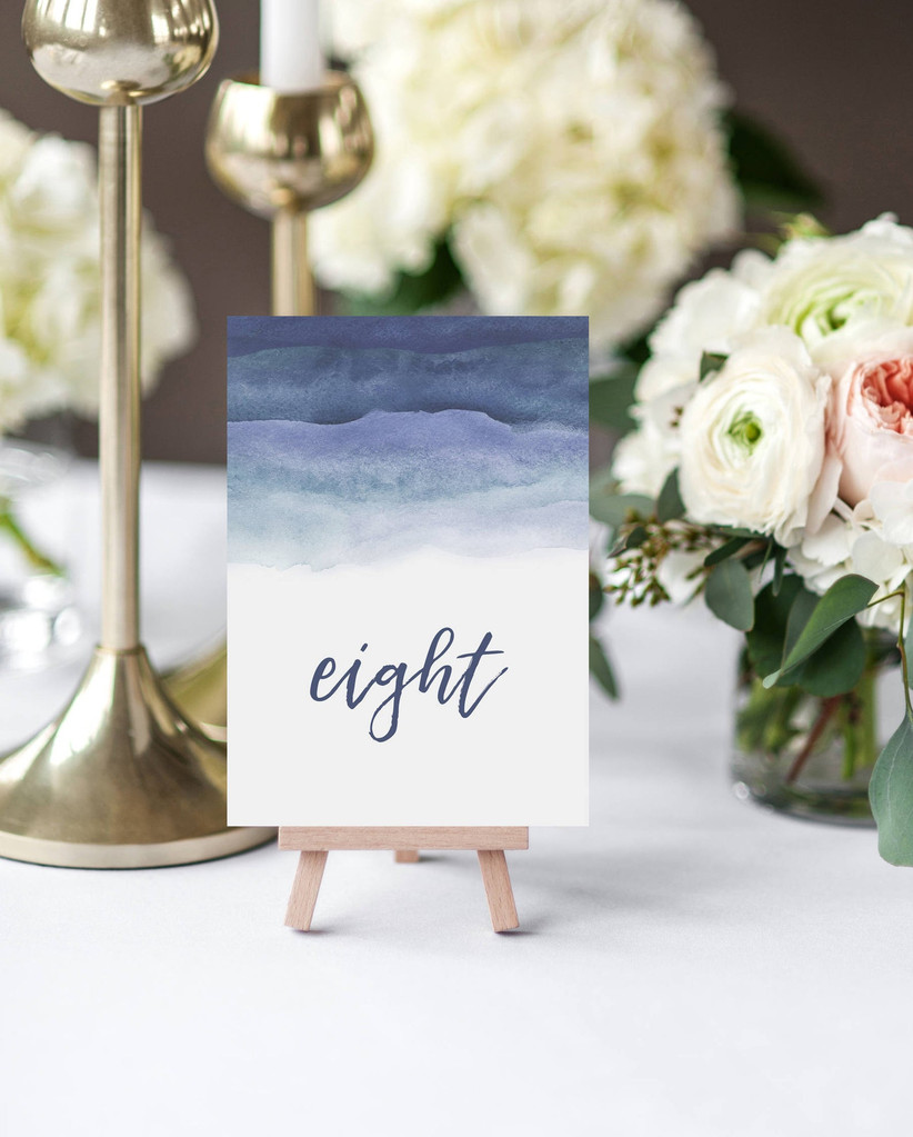 Blue watercolour wedding table number