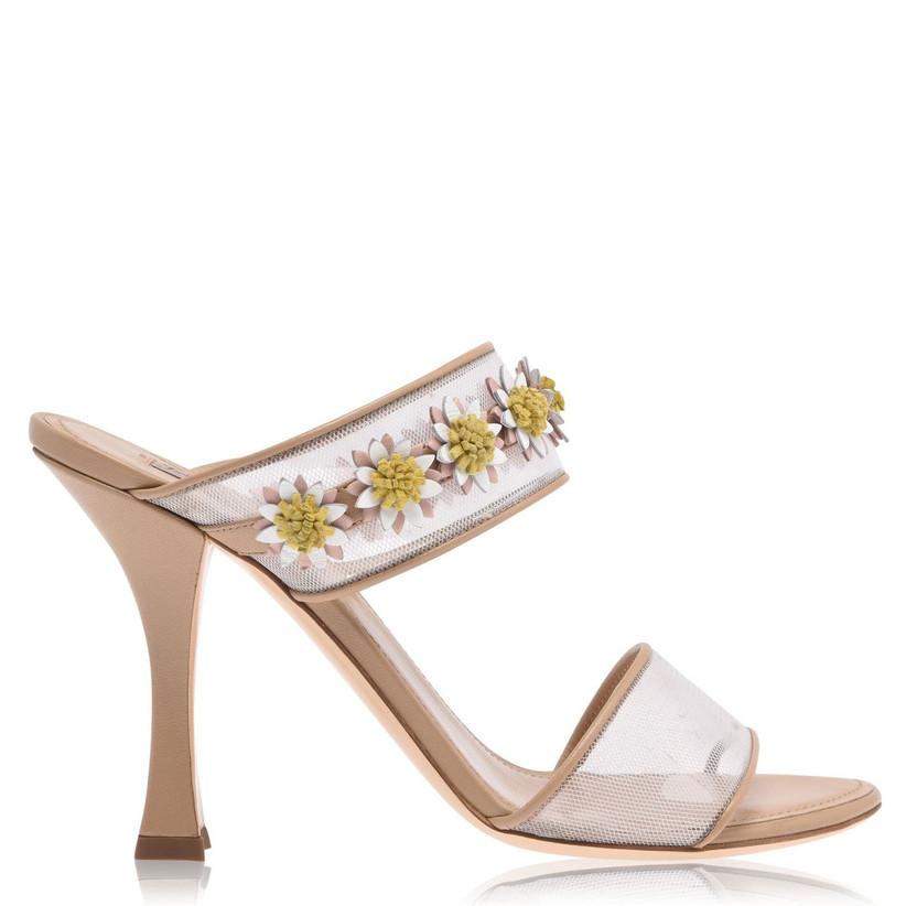 Floral embellished nude wedding heels