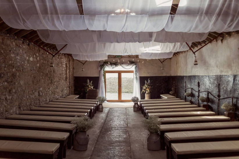 Barn wedding venue with hanging roof materials