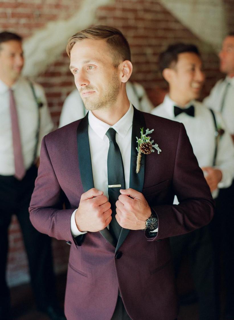 Groom wearing a pine cone wedding buttonhole