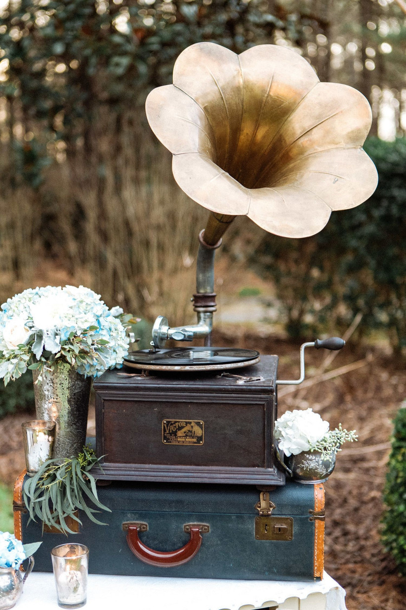 Gramophone at a vintage themed wedding