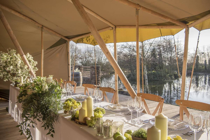 Wedding top table overlooking a lake