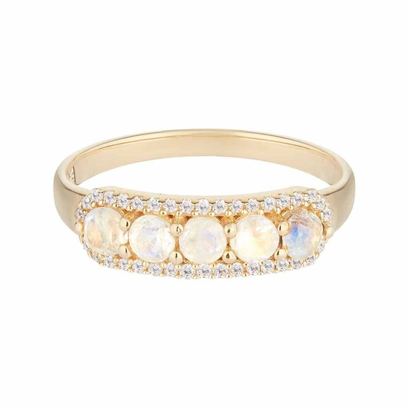 Moonstone and diamond gold engagement ring
