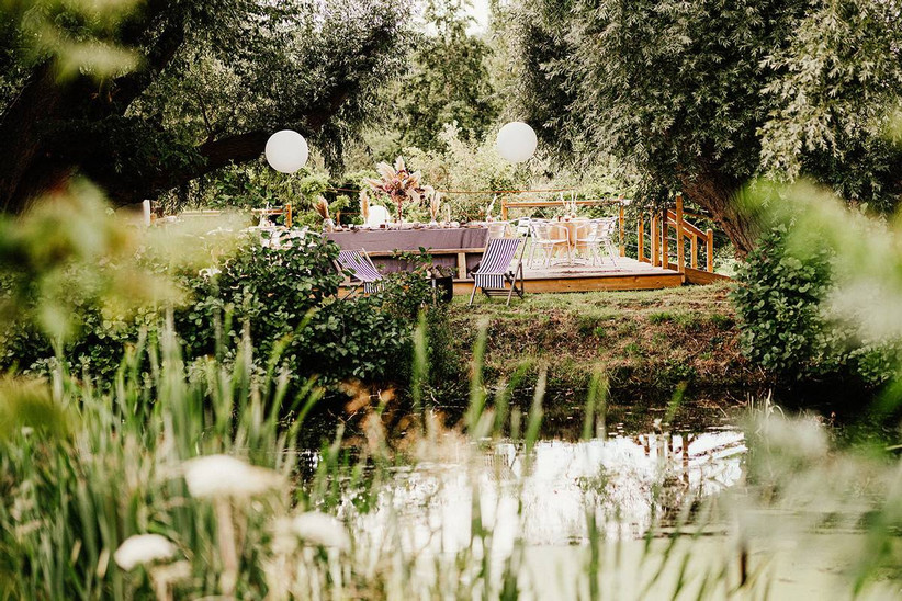 Wedding dining area overlooking a lake
