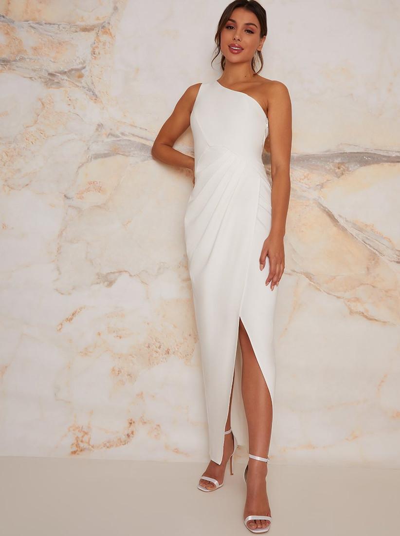 Model in a one shoulder wedding dress