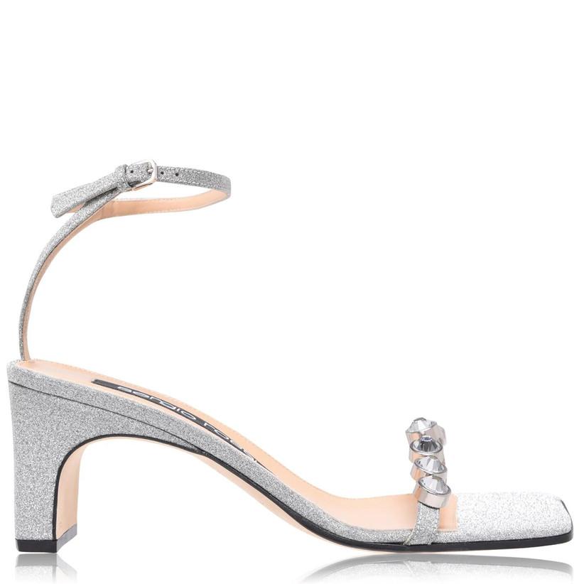 Jewelled silver wedding heels