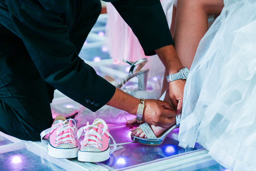changing wedding shoes