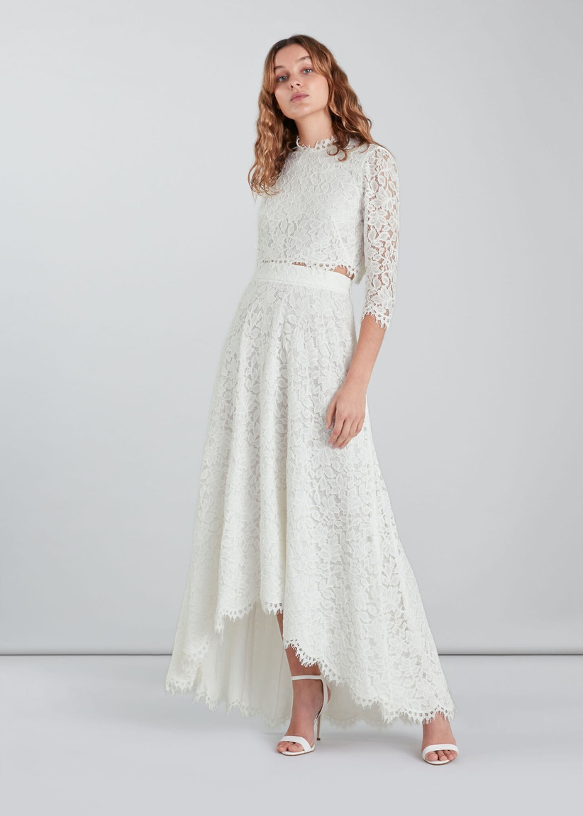 Model wearing a lace wedding co-ord