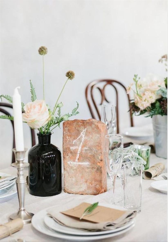 Brick wedding table number