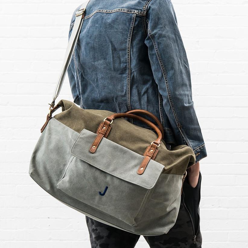 Khaki canvas weekend travel bag