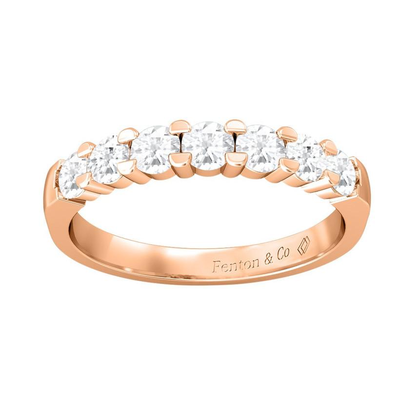 Seven stone diamond rose gold engagement ring