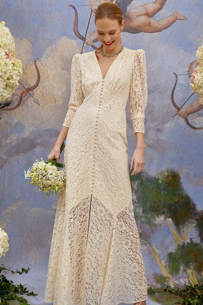 Cream lace v-neck dress