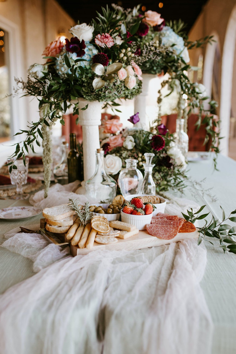 Wedding food with flowers