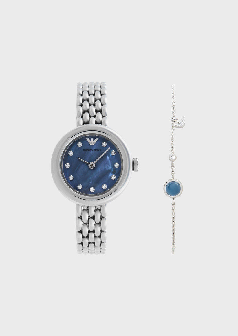 Silver and blue watch and bracelet set