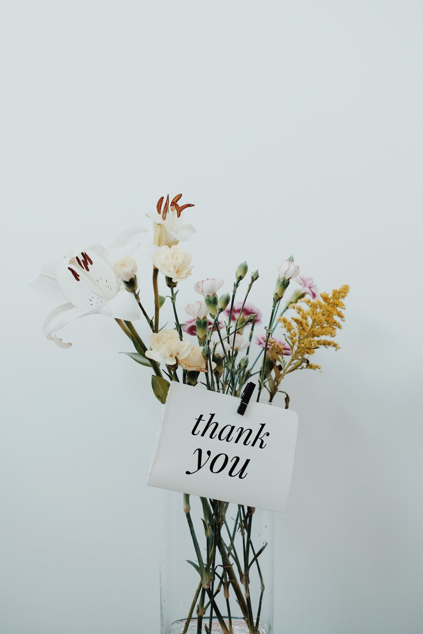 Flowers with a thank you note