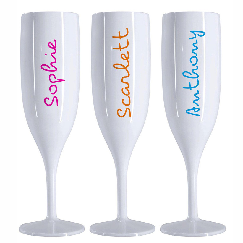 Love Island themed champagne flutes