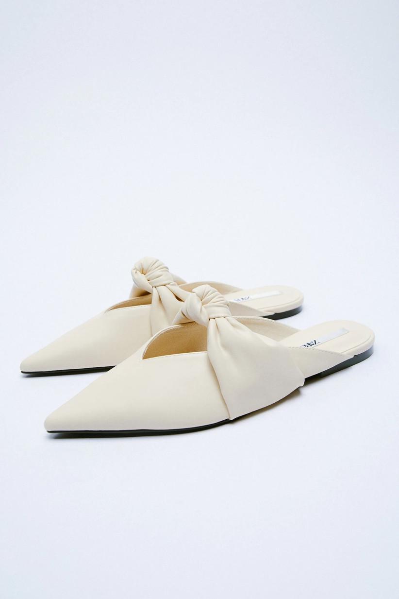 Zara white bridal mules