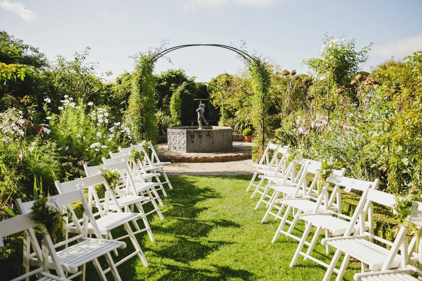Outside ceremony area in a garden