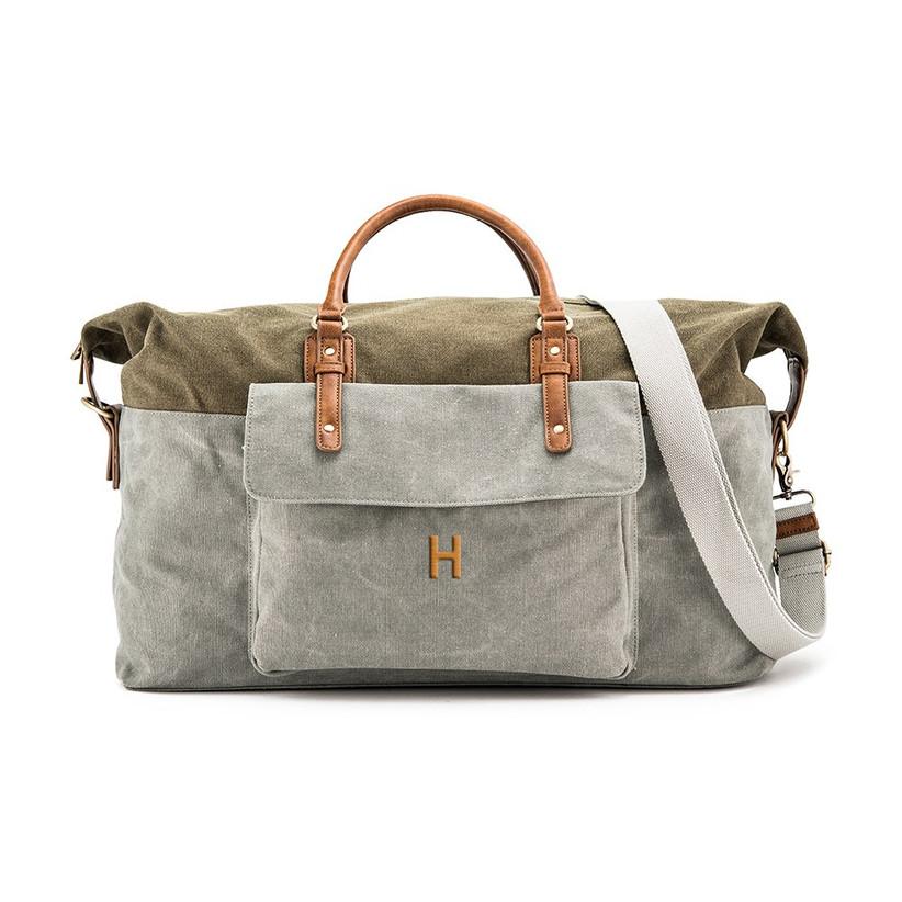 Personalised canvas weekender bag
