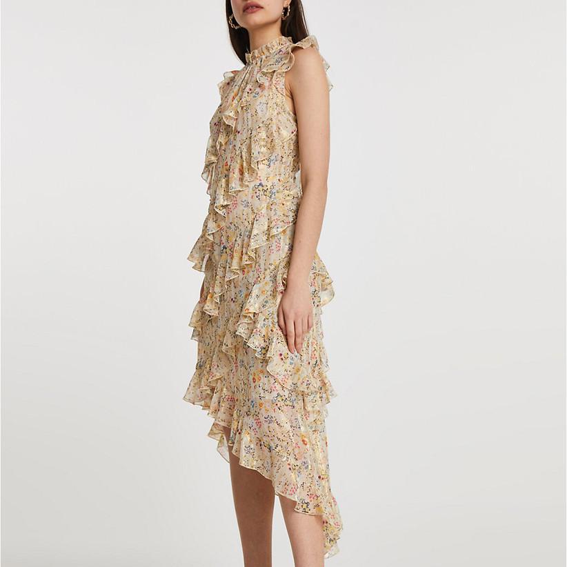 High neck pastel floral dress