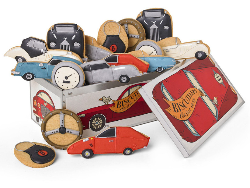 Classic car shaped biscuits in a tin