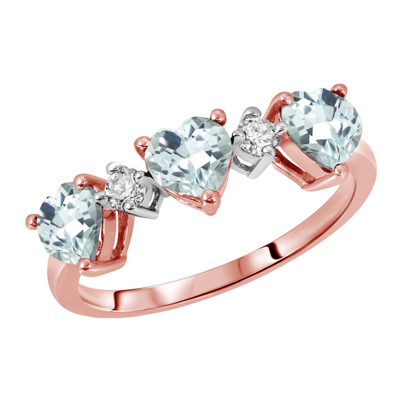 Rose gold and diamond heart engagement ring