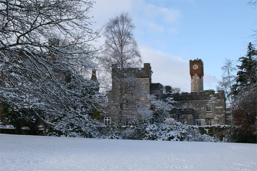 Castle wedding venue covered in snow