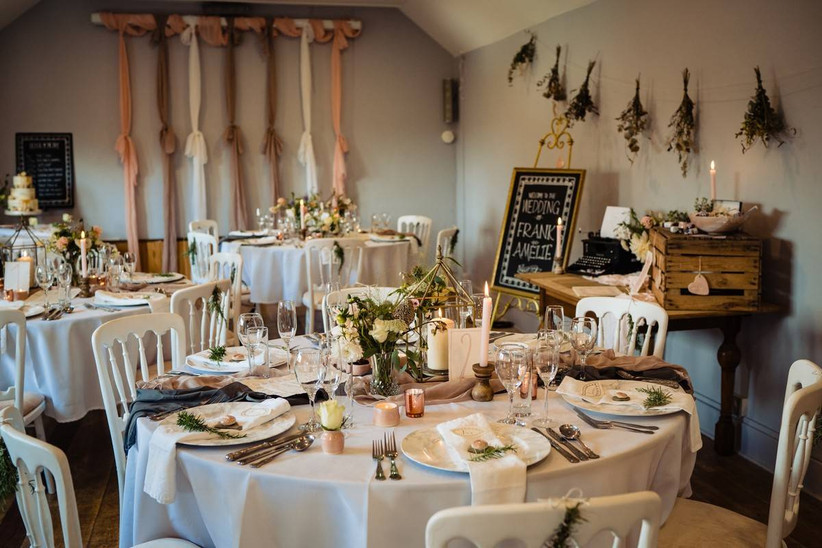 Small wedding venue dining table