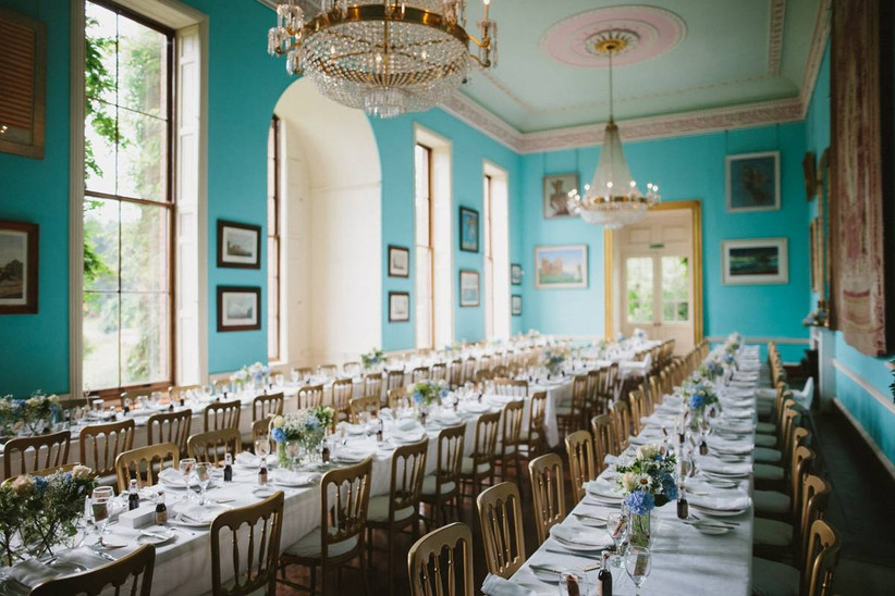 Teal wedding dining area room