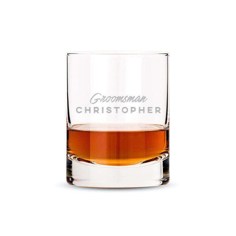 Personalised groomsman whisky glass