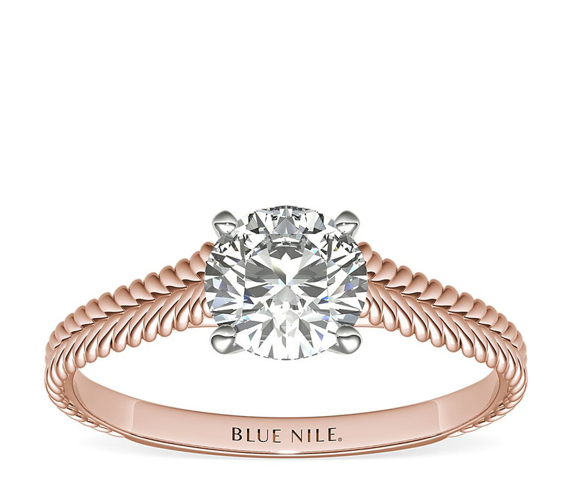 Braided rose gold engagement ring