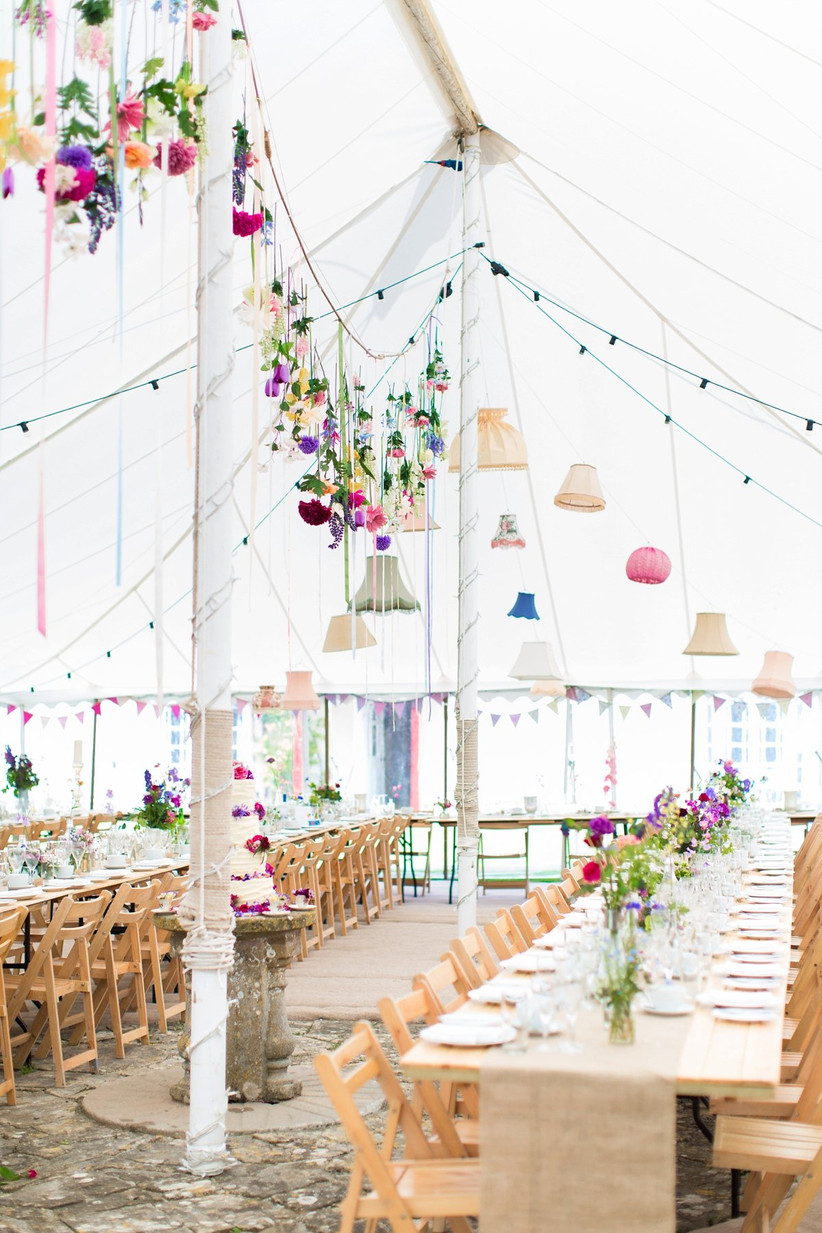 Hanging flowers in a wedding marquee