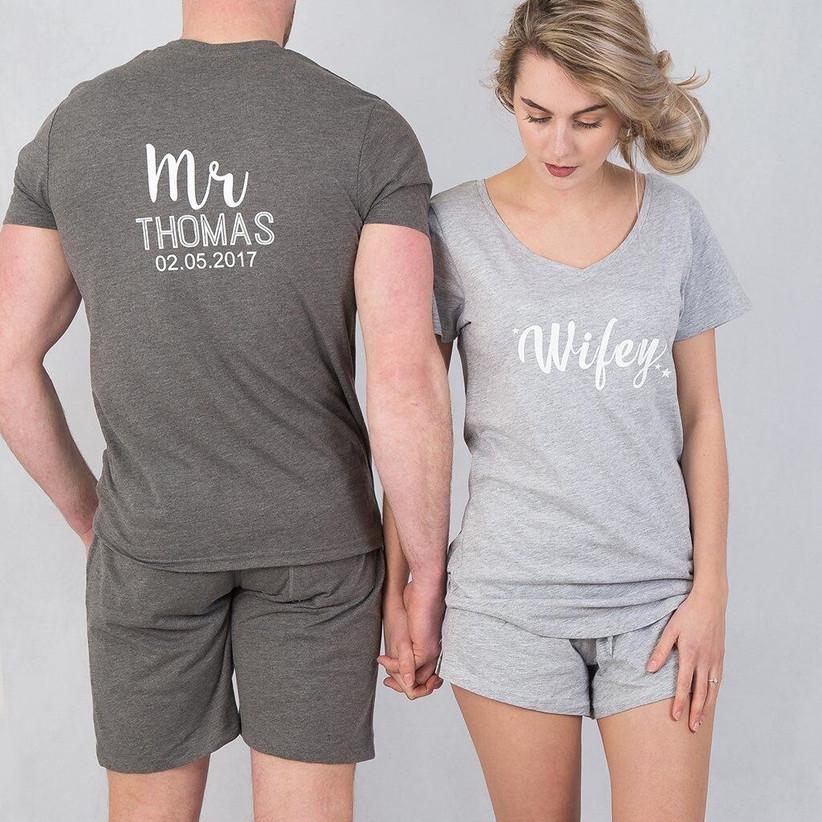 His and her matching grey short pyjamas