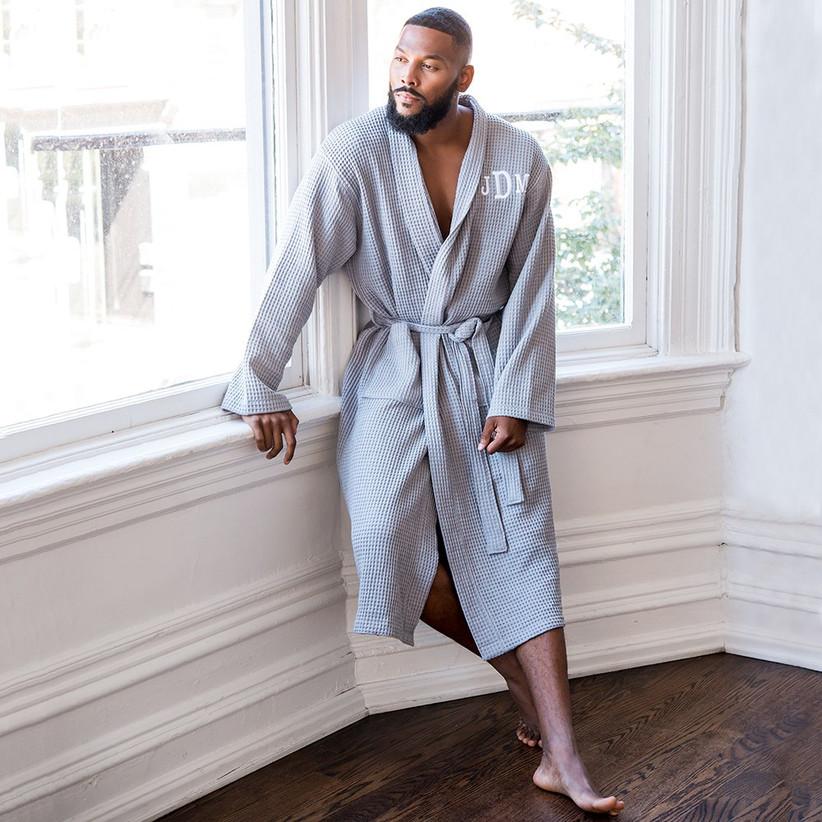 Model wearing a grey personalised waffle robe