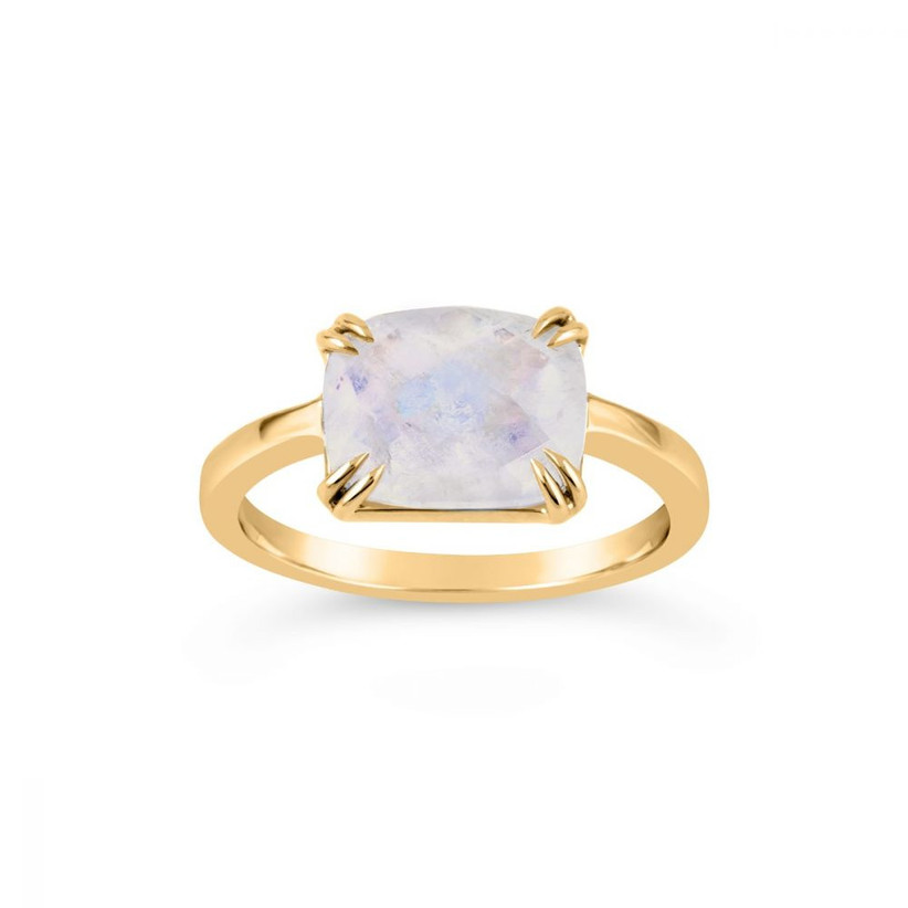 Rectangle moonstone and gold engagement ring