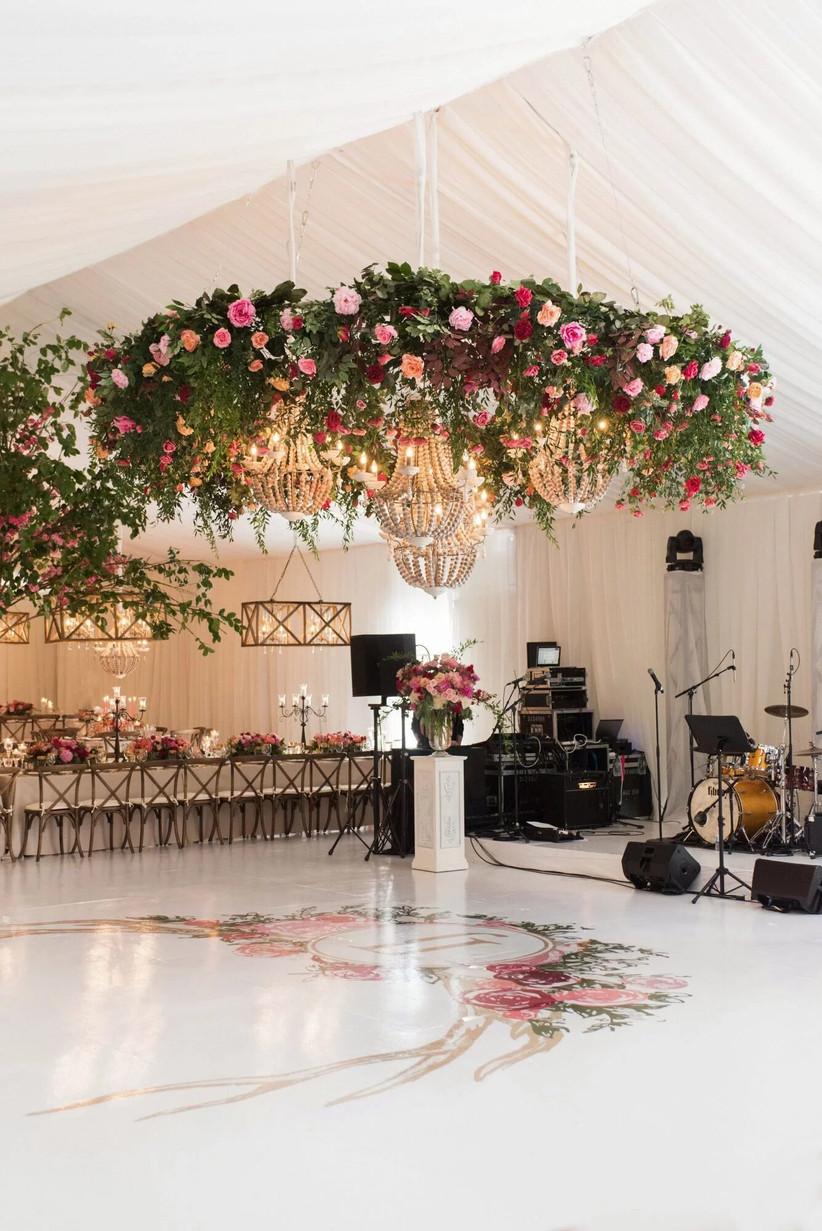 Hanging flower display above a wedding dancefloor