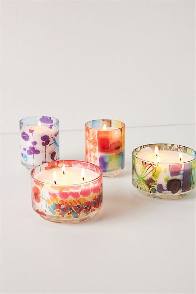 Brightly coloured glass candles