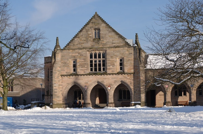Exterior of Elphinstone Hall in the snow