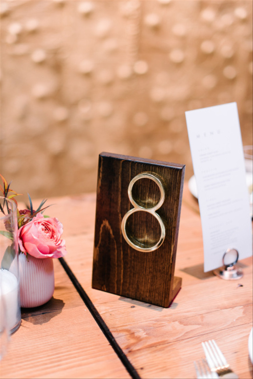 Wood and gold wedding table number