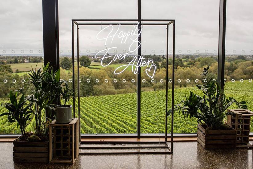 Wedding ceremony space overlooking a vineyard