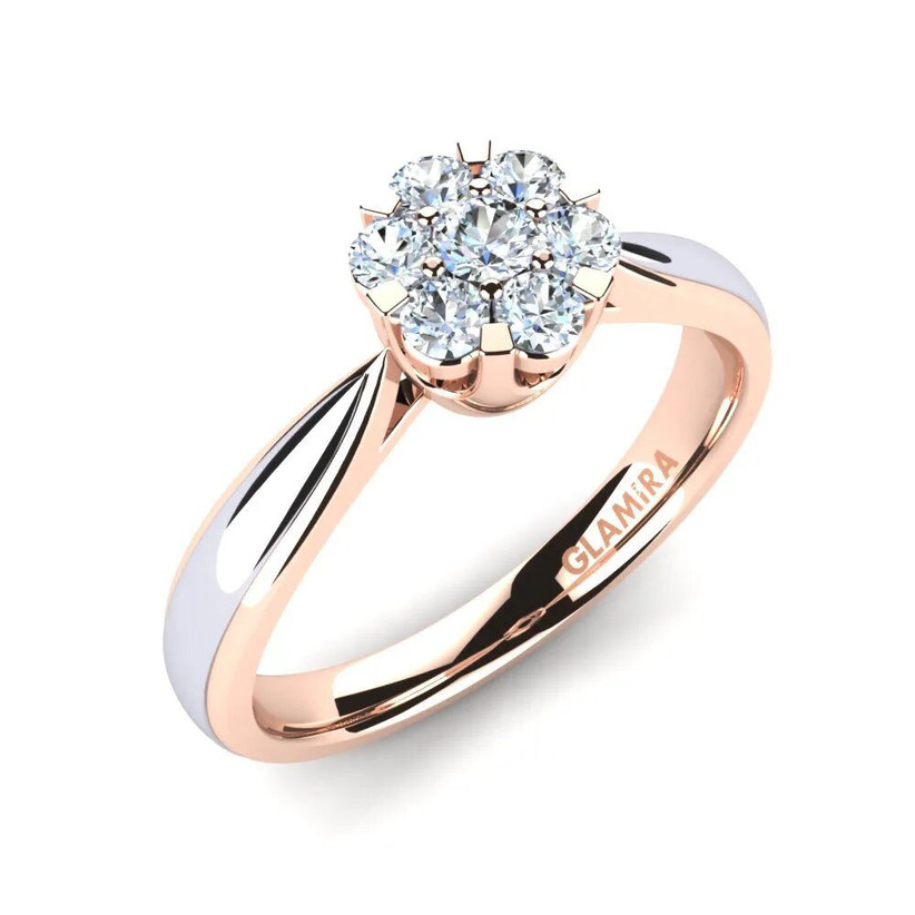 Rose gold and white gold engagement ring