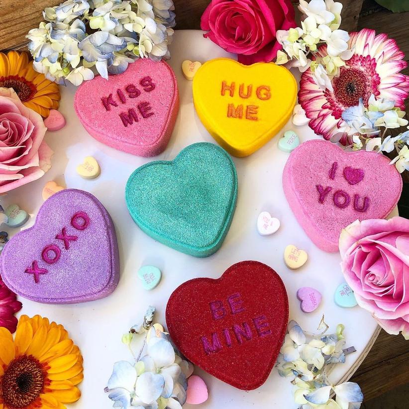 Brightly coloured love heart bath bombs