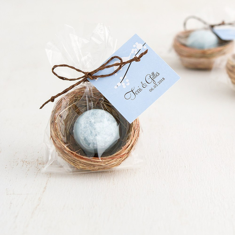 Mini bird's nest with a personalised label