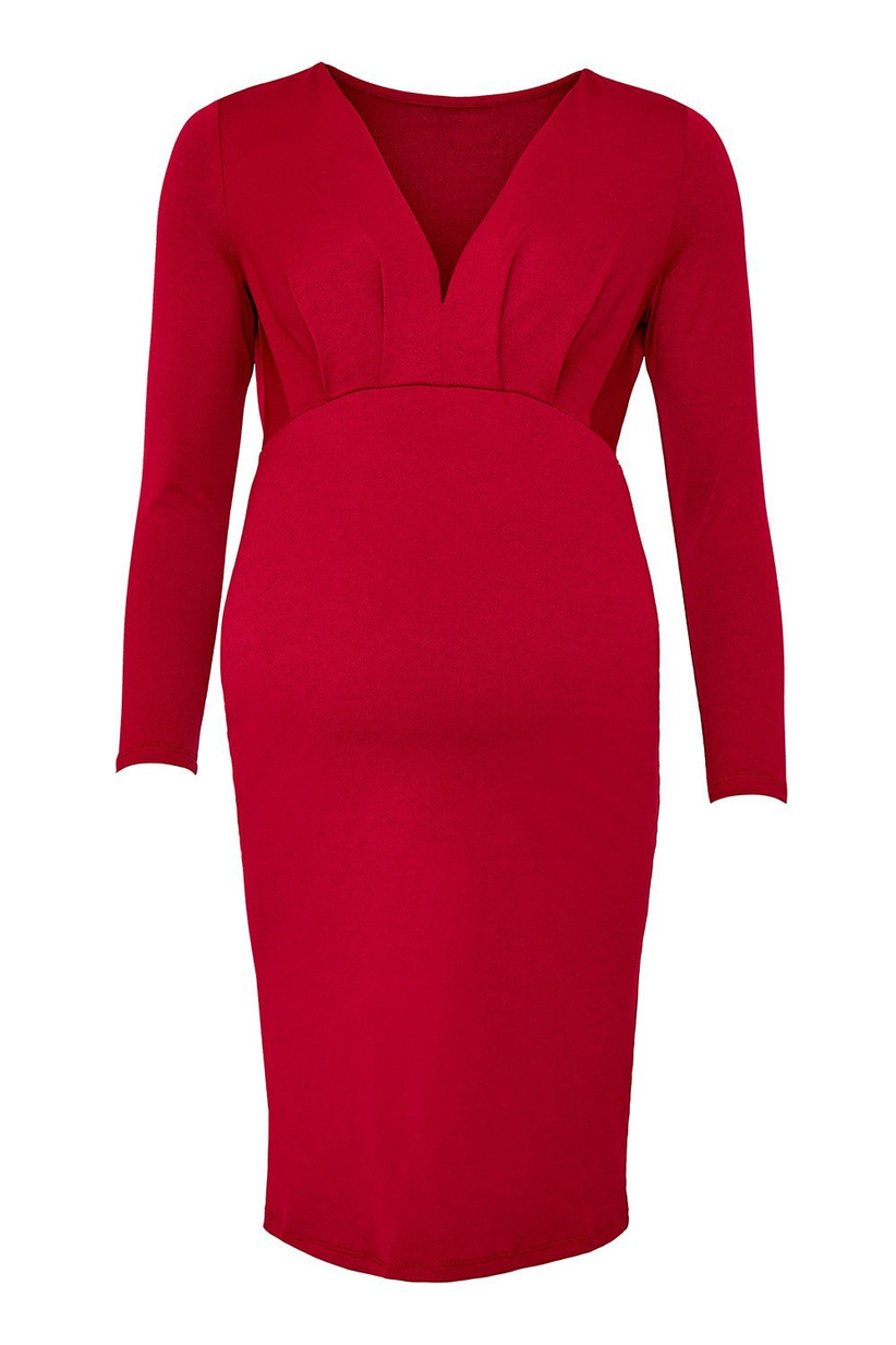 red-maternity-wedding-guest-dress