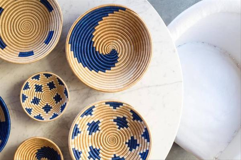 Blue patterned woven bowls