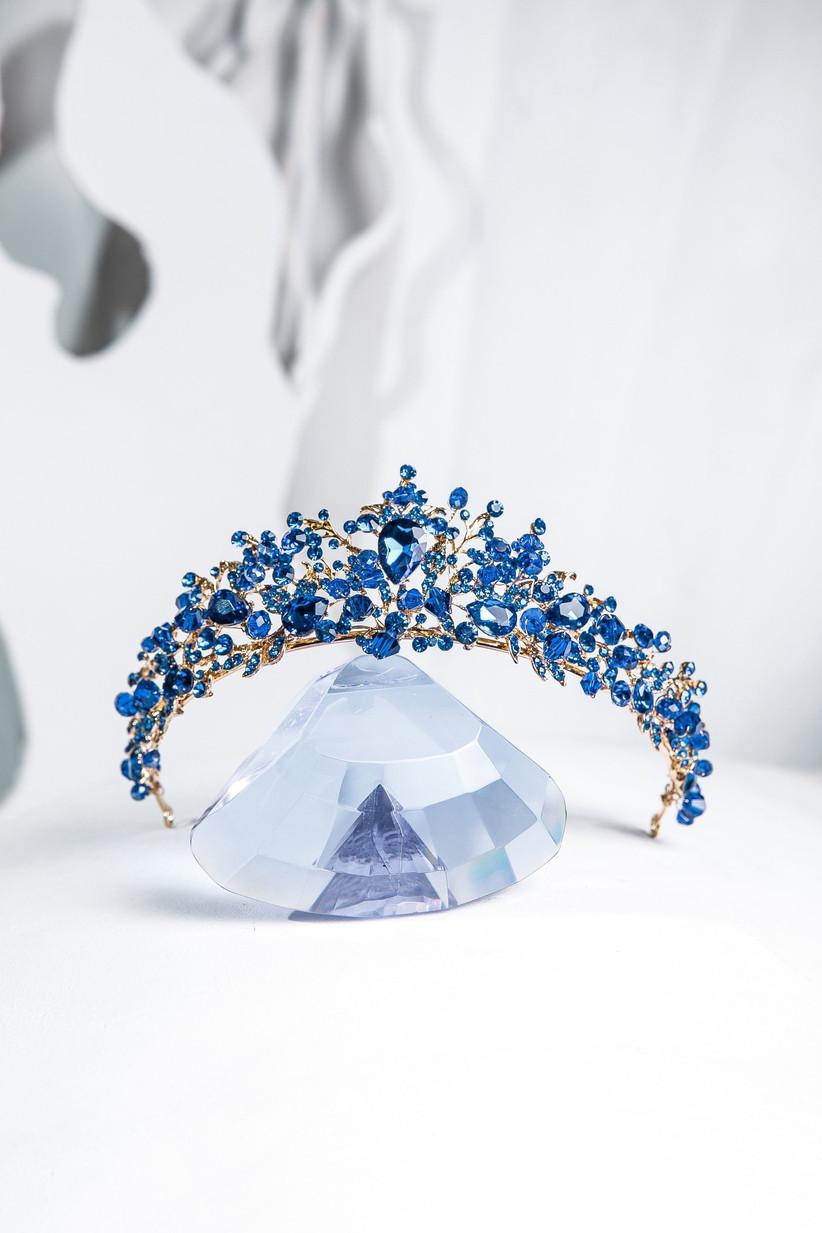 Etsy blue swarovski tiara