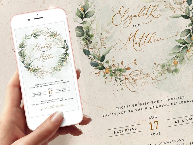 Save the Date template for wedding share this invite via phone Electronic Invitation for Save the date E version of wedding invitation
