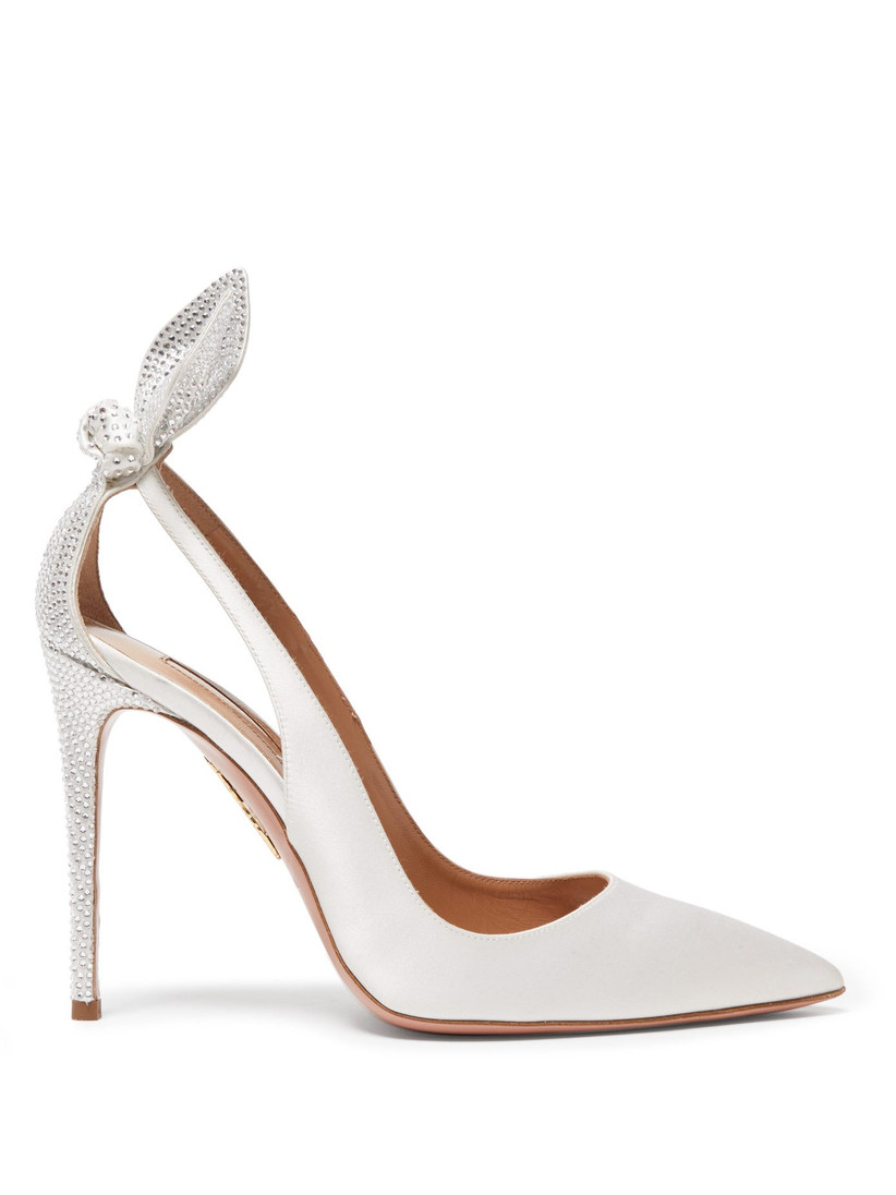 Silver studded bridal heel