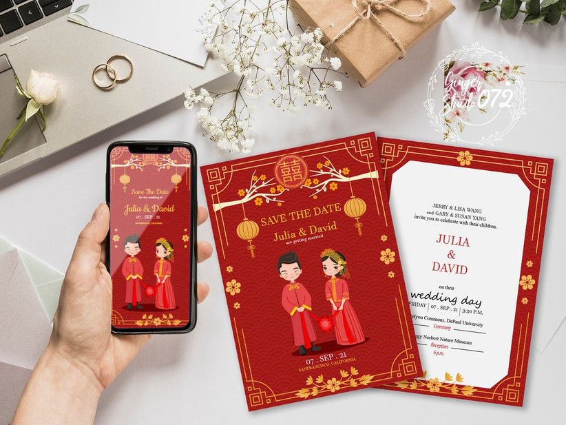 Chinese wedding save the date