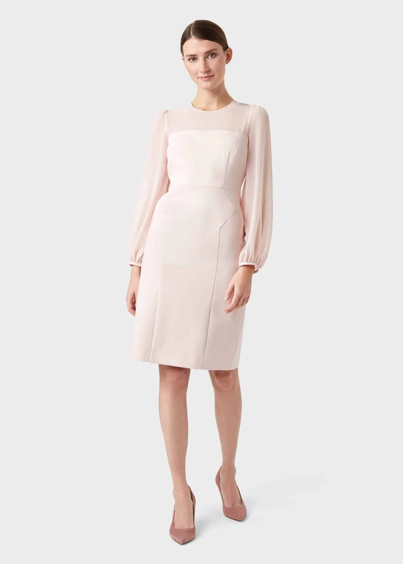 Pale pink shift dress with chiffon sleeves